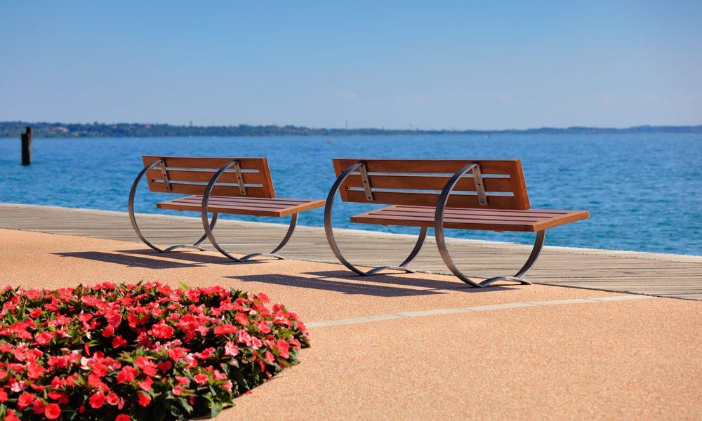 Bardolino promenade near lake Garda, typical benches